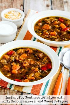 Instant Pot Southwestern Stew with Pork, Bacon, Peppers, and Sweet Potatoes found on KalynsKitchen.com