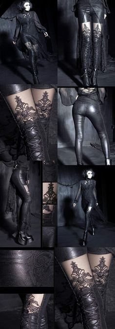 Punk Rave Macbeth Leggings, Black Gothic Embossed - These stunning black Gothic Embossed Leggings are made from a stretchy rubberlook / wetlook type fabric embossed with a paisley pattern design. They have black braiding detail down the side of each leg and corset style lacing with black velvet ribbon on the front of the lower legs. There are black lace panels on the thigh, adorned with a black embroidered pattern which almost gives the impression of stockings worn with shorts or hotpants.