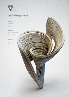 "I wanted to create a series of pictures representing mathematical shapes on white background, like a ""tribute to mathematics"" that I often use in my wor. Strange Attractors - The Yu - Wang Attractor Abstract Sculpture, Sculpture Art, Mathematical Shapes, Chaos Theory, Parametric Design, Math Art, Vases, Generative Art, Pottery Sculpture"