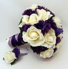 white roses and deep purple lisianthus, gorgeous.