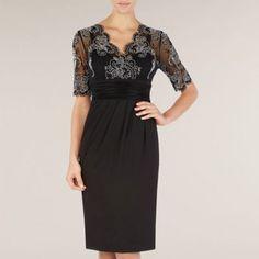 Alexon Black & White Lace Detail Jersey Dress- at Debenhams.com