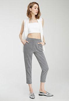 Pleated Miniature Windowpane Trousers | Forever21 - 2000054193