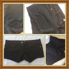 MNG low rise jean shorts Black denim low rise shorts with frayed edges and destroyed patches. 5-pockets, zipper fly. In good condition. MNG Mango Shorts Jean Shorts