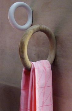 The Gym Hook - Remodelista - a wooden hanger that resembles a gymnastics ring, created by Swedish designer Staffan Holm for Dani - Wood Hooks, Wooden Hangers, Hay Design, Deco Design, Swedish Design, Danish Design, Towel Organization, Towel Storage, Bathroom Storage
