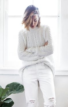 white on white get the look with a soft white turtleneck sweater and white ripped jeans