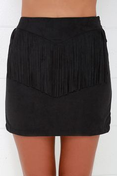 Mojave Muse Black Fringe Suede Skirt