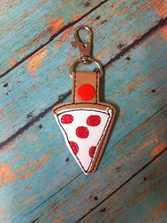 ITH Pizza Snap Tab/Key Fob DIGITAL Embroidery by BackYardStitchin