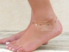 Gold Heart Anklet, Delicate Gold Anklet, Gold Filled Heart Anklet, Heart Ankle Bracelet, Layering Anklet, Dainty Gold Foot Jewelry.