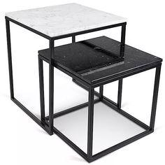 conjunto de mesas auxiliares de mármol c/ base de hierro