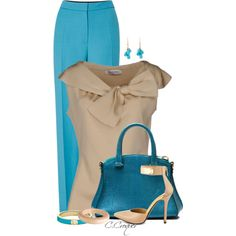 Turquoise&Beige by ccroquer on Polyvore featuring мода, Valentino, Roksanda, Fergie, Michael Kors and Ten Thousand Things