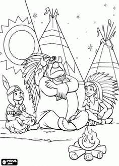 Kleurplaat / kolorowanka Piotruś Pan w obozie Indian plemienia Piccaninny z małymi princess Tiger Lily i jego ojciec, główny indian