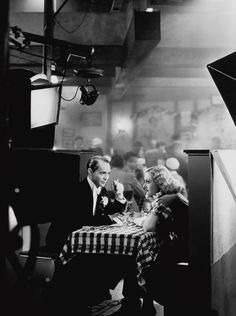 Joan Crawford and Franchot Tone filming.