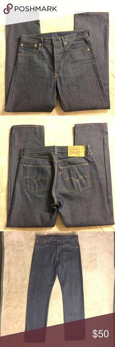NWOT LEVI STRAUSS CLASSIC 501 JEAN 32x32 dark wash These jeans are new without tags. They are very heavy duty material and high quality. 501 style. 32 inch waist and 32 inch inseam. 100% cotton and dark wash. Levi's Jeans Straight