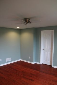 Love these blue gray walls. Paint color: wall Ovation by Behr ...