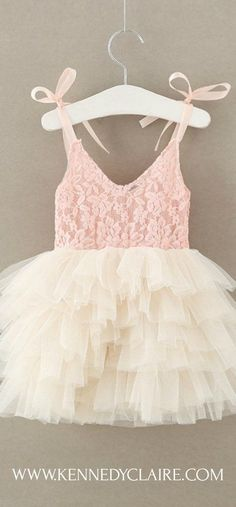 Blush & Ivory Lace Tutu Dress for Toddlers and Baby Girls. Perfect Flower Girl Dress in blush and ivory