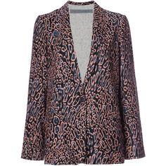 Raquel Allegra Relaxed Cut Blazer ($575) ❤ liked on Polyvore featuring outerwear, jackets, blazers, silk blazer, leopard blazer, leopard print blazers, leopard jacket and raquel allegra