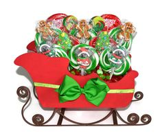 Lollipop Santa Sleigh Christmas Centerpiece by EdibleWeddings, $64.99