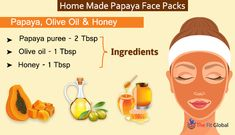 Experience a soothing papaya facial using the best papaya face packs for skin whitening, to get rid of pigmentation, pimples & lot more. Papaya Face Pack, Papaya Facial, Homemade Face Masks, Homemade Skin Care, Olive Oil Face Mask, Papaya Benefits, Papaya Oil, Facial Benefits, Honey Face