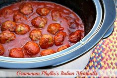 Grammam Phyllis's Italian Meatball recipe from Mommy's Kitchen. Dinner never tasted so good. Cooked in spaghetti sauce..mmm mmm. A perfect meal! #BestMeatballRecipes