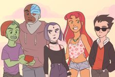 DC Comics: Teen Titans (if I were here in my normal clothes, I'd be Raven or Cyborg)