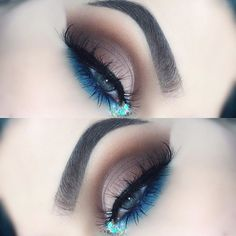 Simple smokey eye with a pop of color   Hope you like it   PRODUCTS I USED  @anastasiabeverlyhills #dipbrow in ashbrown  @colourpopcosmetics no filter concealer in light & brushes  @morphebrushes 35OM palette for the neutral part and 35B for the blue  @hudabeauty lashes in samantha  @starcrushedminerals glitters  @nyxcosmetics_hu