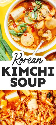 Loaded with flavorful veggies, silken tofu, and kimchi, this Kimchi Soup recipe (Kimchi-jjigae) is an easy vegetarian stew for busy weeknights! Packed with flavor, healthy, and perfect for the whole family. #koreanfood #soup #stew #kimchi #vegan # vegetarian Vegetarian Stew, Best Vegetarian Recipes, Healthy Recipes On A Budget, Clean Eating Recipes, Budget Meals, Asian Recipes, Healthy Food, Kimchi Jigae Recipe, Kimchi Soup Recipe