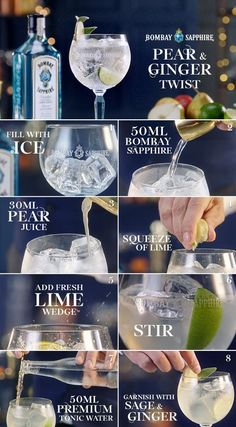 Pear and Ginger Twist | A step-by-step guide to creating a Pear and Ginger Twist | 50ml Bombay Sapphire | 50ml Pear juice | 50ml Premium Tonic water |Squeeze of fresh lime| Sliver of Pear and Sage leaf to garnish