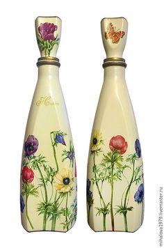 Купить Декоративная бутылка «Весеннее настроение» - бутылка, бутылка декоративная, бутылка декупаж, бутылка в подарок
