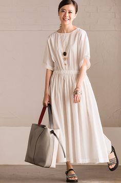 Cotton Linen Collect Waist White Long Dress Summer Women Dress