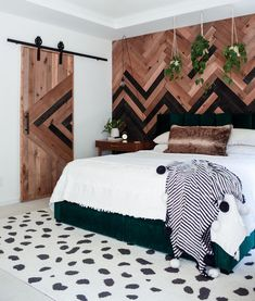 Designed by @fromgrittopearl Feature Wall Bedroom, Bedroom Wall, Diy Sliding Barn Door, Budget Bedroom, Bedroom Ideas, Couple Bedroom, Farmhouse Style Decorating, Boho, Room Decor