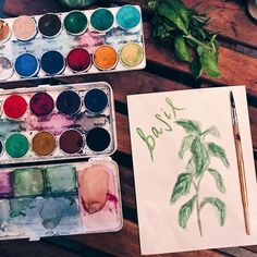 We have an abundance of basil happening on the balcony garden  which mean lots of pesto and watermelon salad ... and watercolor herbs. Naturally. #charlotteiscreative #watercolorherbs #watercolorpainting #balconygarden #charlottenc #artiseverywhere #livethelittlethings #creativelifehappylife