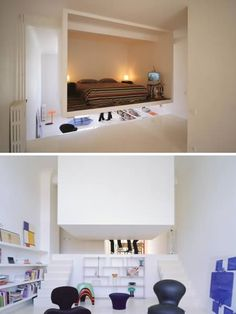 Those living in small spaces have to be creative about dividing up the space, but putting up screens only gets you so far. This ingenious bedroom design is an entire loft bedroom that securely hangs from the ceiling, providing a sleeping space that makes use of high ceilings. The back surface of the loft could even be used as a movie screen.