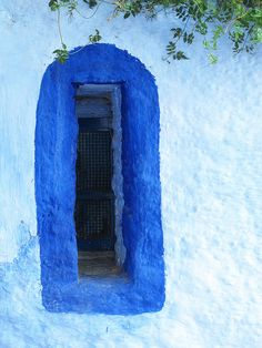 Window in Chefchaouen (Morocco) - (by Sally Walton) Porches, Window View, Exterior Doors, Great View, Doorway, Windows And Doors, Shades Of Blue, Gallery Wall, World