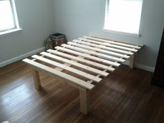 """Fantastic! I bet it wouldn't take much to attach the antique head and foot boards I have to something like this. A platform bed is great, because then your """"excess stuff"""" actually fits under it :P"""