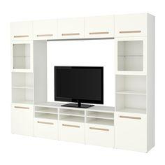 BESTÅ TV storage combination/glass doors, Marviken white clear glass Marviken white clear glass drawer runner, soft-closing 300x40x230 cm