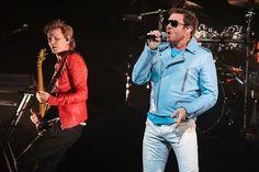 Simon Le Bon and John Taylor of Duran Duran perform on stage at Hard Rock Live at Seminole Hard Rock Hotel