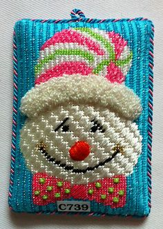 C739 - Happy Face snowman needlepoint ornament