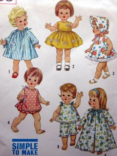 Vintage 1950s Simplicity Doll Clothes for 18 Inch by paneenjerez