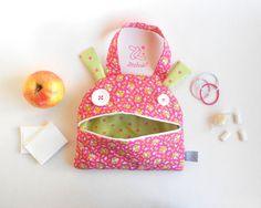 Snack bag monster zippered tote   Zé Snack-glutton: hand bag   funny lunch bag   toddler tote bag   kids handbag   toy storage   pink flower