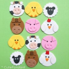 12 Farm Animal fondant cupcake toppers – Farm Animal Birthday – Farm Animal Baby Shower – Farm animal cupcake toppers – Farm birthday - My CMS Farm Animal Cupcakes, Pig Cupcakes, Baby Cupcake, Barnyard Cupcakes, Valentine Cupcakes, Cupcake Birthday, Rose Cupcake, Birthday Banners, Fondant Animals