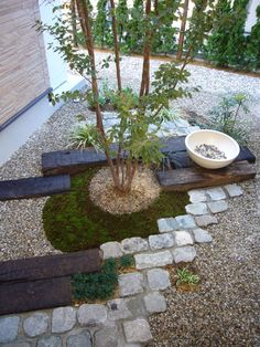 Japanese style garden accent wood and rock