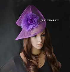 Crocus purple special shape sinamay fascinator formal hat with silk flower,party/wedding/races/Kentucky derby
