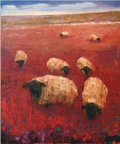"Rebecca Kinkead; ""Flock Number 9"",oil, wax, marble dust."