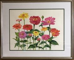 "Watercolor Zinnias ""Burst of Color"""