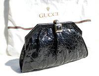 GUCCI 1980's-90's Jet Black ALLIGATOR Skin Clutch SHOULDER Bag