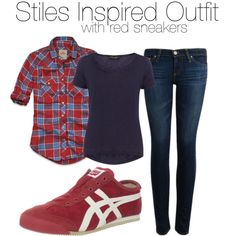 Stiles Inspired Outfit with Red Sneakers Onitsuka Tiger Women Outfit, Burgundy New Balance, New Balance Outfit, Red Sneakers, Weekend Wear, Stiles, Adriano Goldschmied, What I Wore, Hollister