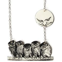 Owl and the Moon Necklace Woodland Surreal by TheSpangledMaker