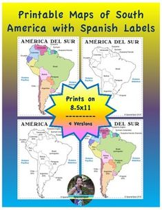 Spanish Map of South America- printable reference pages Middle School Spanish, Elementary Spanish, Spanish Classroom, Elementary Schools, Teaching French, Teaching Spanish, Teaching Resources, Spanish Teacher, Teaching Ideas