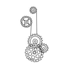 Embroidery Designs at Urban Threads - Steampunk Cogs (€0,94) ❤ liked on Polyvore featuring fillers, backgrounds, steampunk, drawings, art, doodles and scribble