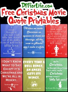 Free Christmas Printables with Favorite Movie Quotes - DIY for Life